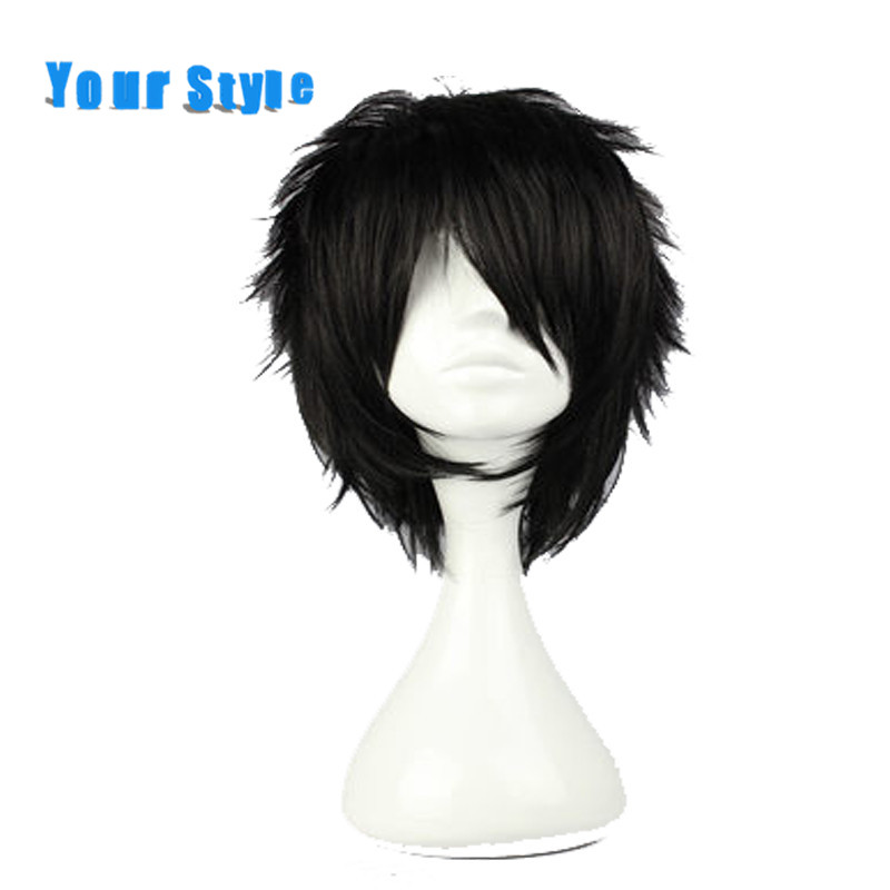 Ваш Стиль короткие коричневые вьющиеся Косплэй Искусственные парики Для мужчин для Детский костюм для вечеринок Синтетические волосы высо...