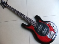 New Music Man StingRay 5 Strings Electric Bass Guitar In Red Black 110619