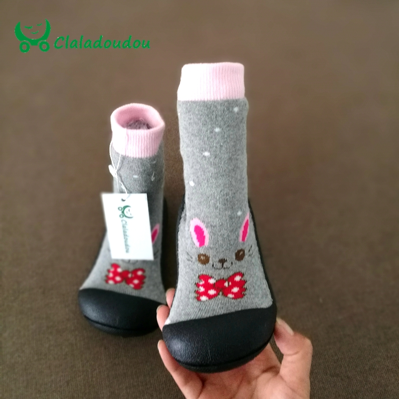 Claladoudou Baby Soft Socks Shoes Baby Girl Boy Shoes Newborn Baby Children Shoes Infant Flat Floor Socks Rubber Sole Kids Boots unisex baby cotton socks newborn baby infant anti slip floor sock 2016 autumn winter kids boy girl cartoon animal socks 0 4y