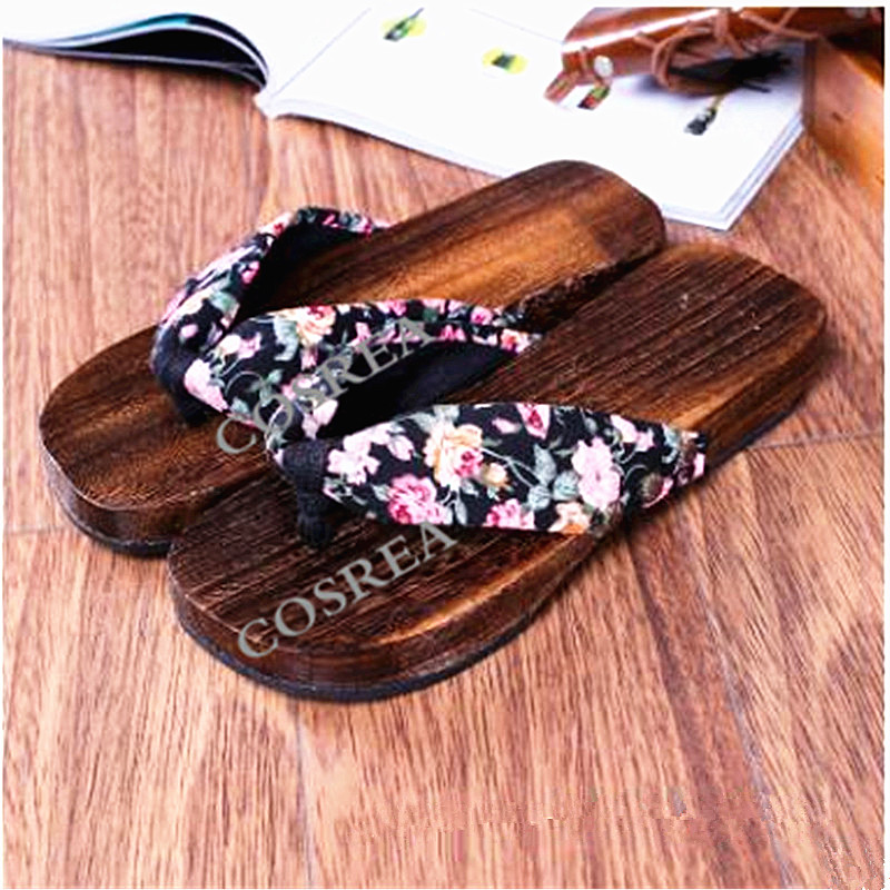 Anime Princess Lolita Wood Sandals New Fashion Retro Japanese Style Clogs Fashion Wooden Flip Flops Slipper Women's Slippers