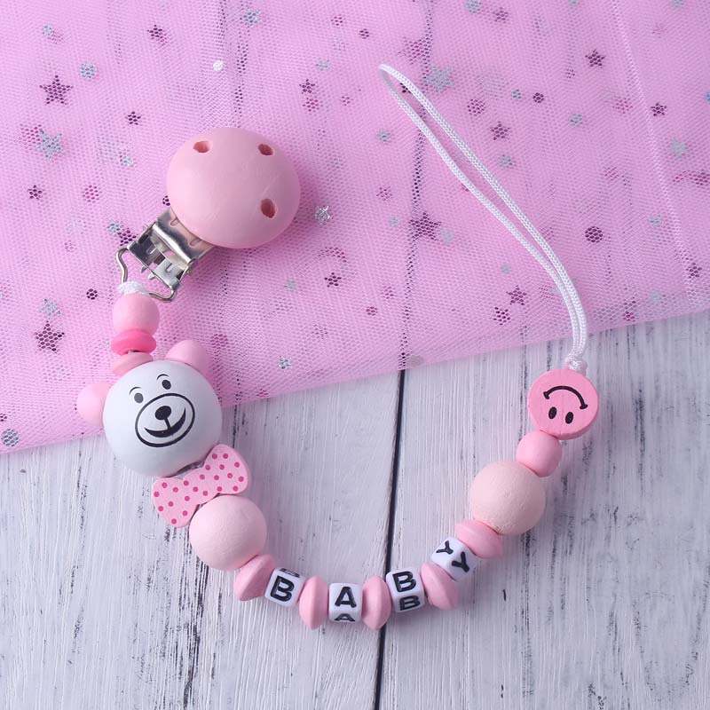 New Bear Baby Pacifier Chain Infant Feeding Nipple Holder Chain Silicone Wood Soother Letter Anti Drop Newborn Nursing Clip Toy