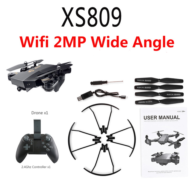 S809HW RC Foldable Selfie RC Drone With FPV Wifi Camera Altitude Hold Mini Quadcopter 2 0MP or 0 3mp hd drones vr glasses otrc in RC Helicopters from Toys Hobbies