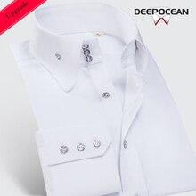 Deepocean модная мужская рубашка размера плюс, приталенная рубашка с длинным рукавом, брендовая хлопковая Повседневная Деловая мужская одежда DaDDX00615LS