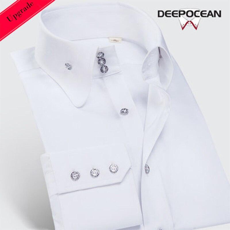 Deepocean fashion plus size men shirt slim fit shirt long sleeve shirt brand cotton casual business men clothes DaDDX00615LS