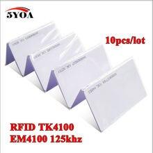10 pces 5yoa em4100 tk4100 125khz id keyfob rfid tag tag cartão de controle acesso chave fob token anel chip proximidade