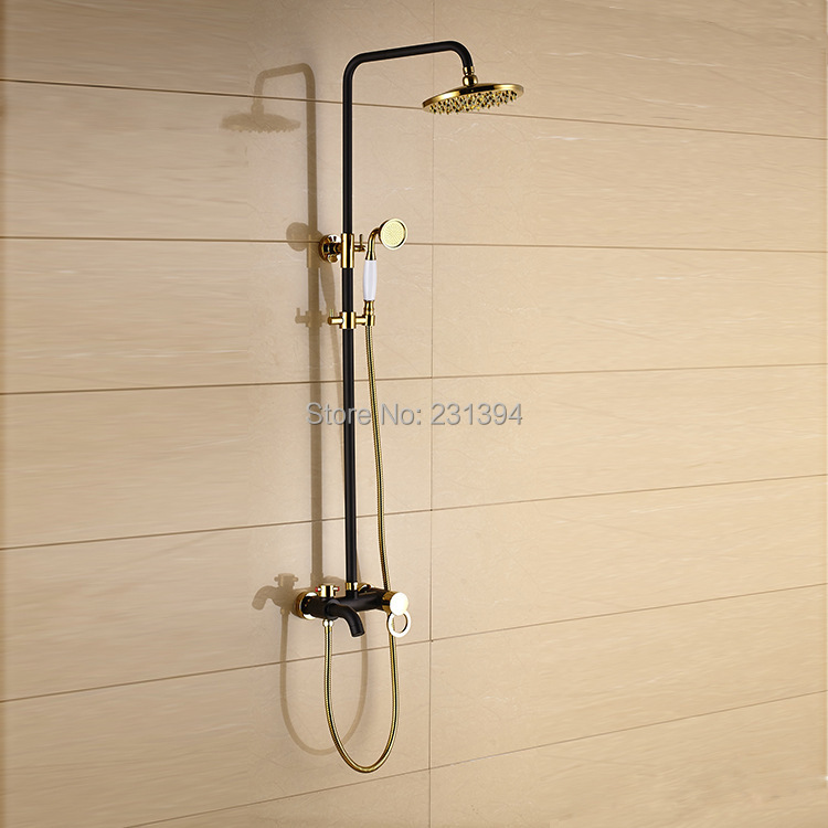 Antique European Mixed shower faucet sets Brass black & gold plated ...