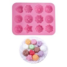 12-Cavity Mixed Style 3D Silicone Chocolate Pudding Mold Handmade DIY Craft Ice Cube Tray Cake Biscuit Baking Mould Tool 15 cavity silicone drink ice cube pudding jelly cake chocolate mold mould tray set of 2 460001