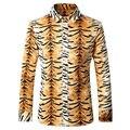 Los hombres Camisa de Manga Larga Casual Slim Fit Hombres Camisa de Estampado de Leopardo moda Otoño Vestido de Camisa 4XL 5XL Chemise Homme Marca Luxe T168