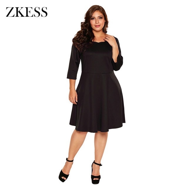 d2d591c7d6 Zkess Women Scalloped Neckline 3 4 Long Sleeve Skater Dress Sweet Style  Flare Pleated Plus