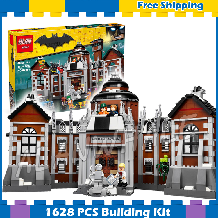 1608pcs Super Heroes Batman Movie Arkham Asylum Madhouse 07055 Model Building Blocks Assemble Gifts Sets Compatible with Lego new 1628pcs lepin 07055 genuine series batman movie arkham asylum building blocks bricks toys with 70912 puzzele gift for kids