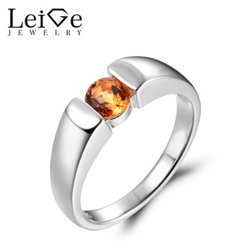 LeiGe Jewelry Natural Citrine Rings Anniversary Rings Round Cut Yellow Gemstone Ring 925 Sterling Silver Bezel Setting Rings