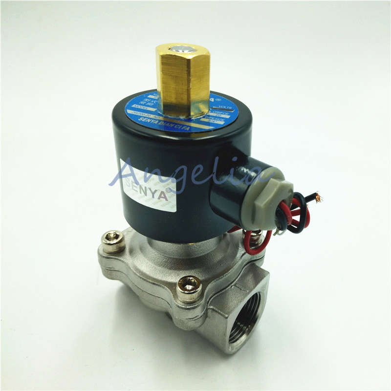 "1/2"" DN15 BSP AC220V AC110V AC24V Stainless Steel 304 Normally Open Electric Solenoid Valve N/O"