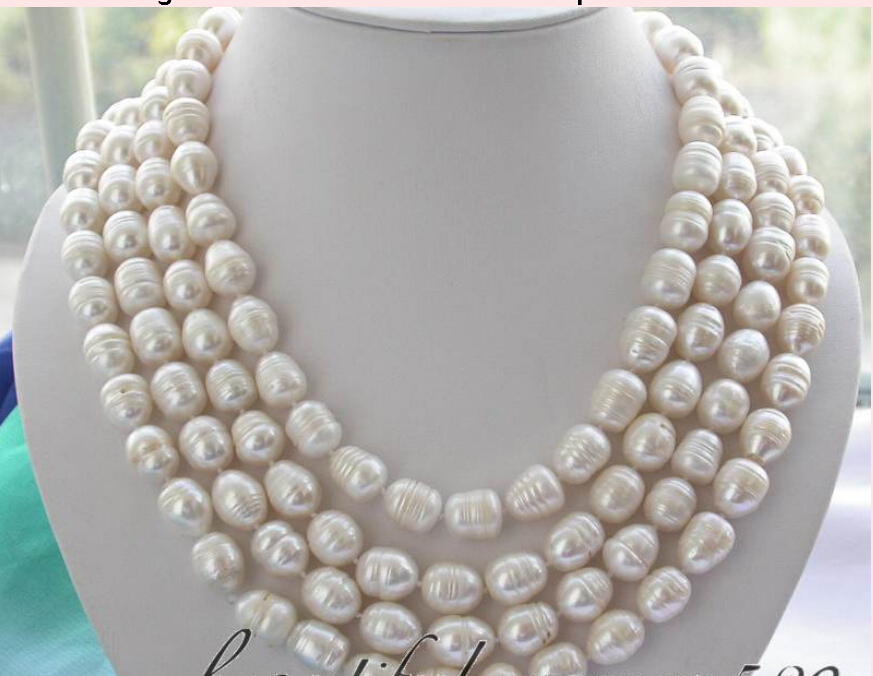 FREE SHIPPING long 80 14mm white rice freshwater pearl necklace AAA