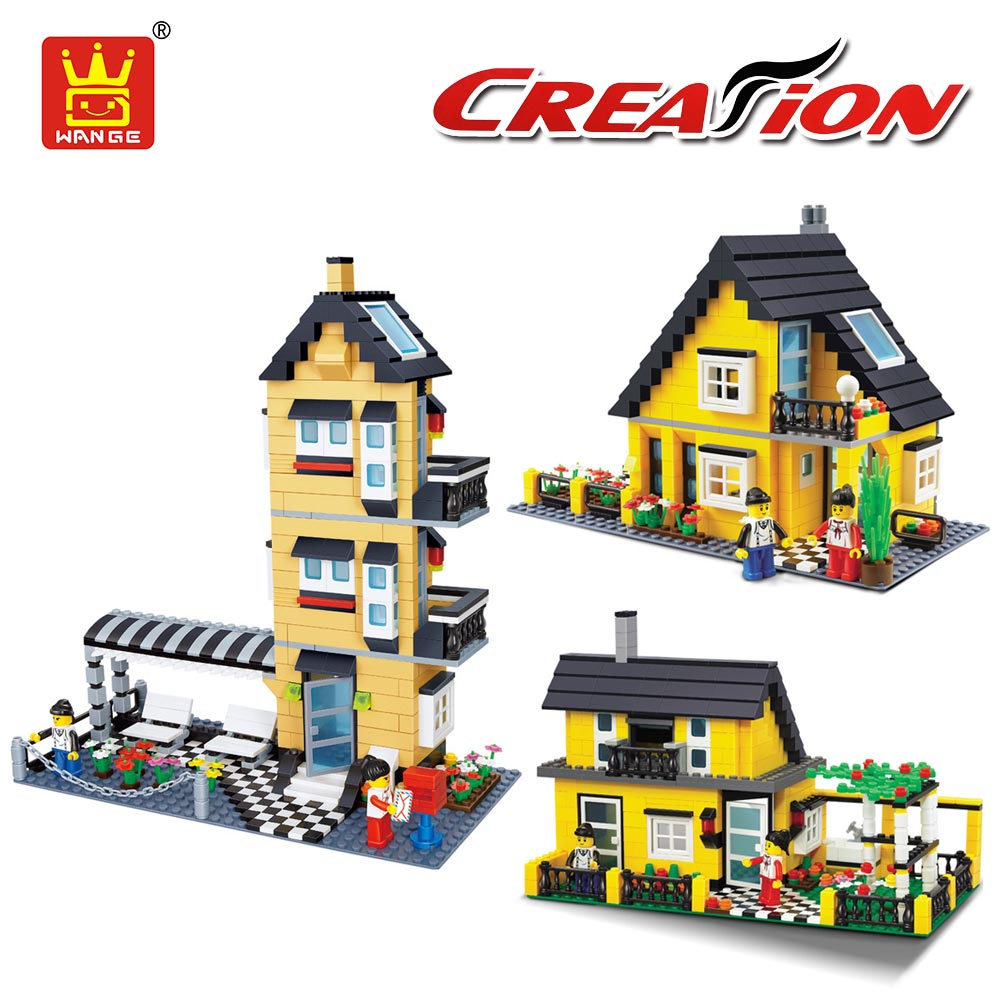 WANGE Villa House Building Blocks City Diy Creative Bricks Toy Compatible with Educational Toys for Children Educational Street building blocks fire story compatible with diy toys creative educational xmas duplo 65pcs classic toys educational baby toy