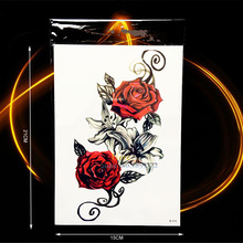 1PC Sexy Women Body Back Art Temporary Tattoo Rose Lily Flower Arm Tattoo Sleeve Waterproof Leg Decals Fake Tattoo Sticker BH516