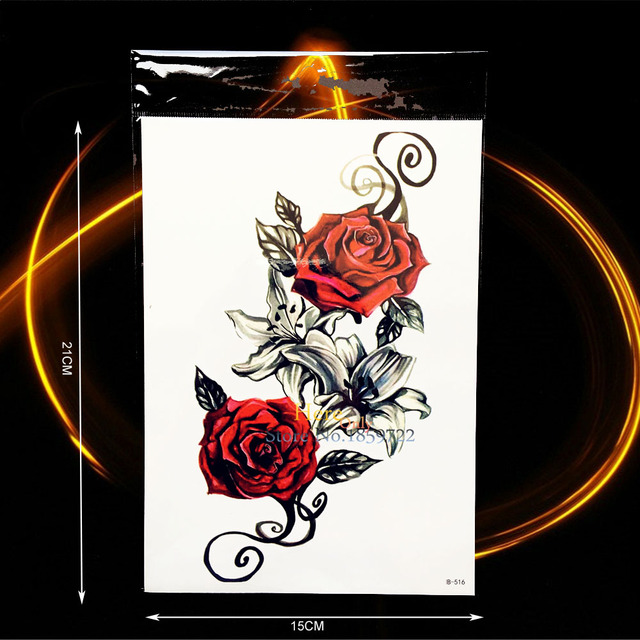 1PC Sexy Women Body Back Art Temporary Tattoo Rose Lily Flower Arm Tattoo Sleeve Waterproof Leg Decals Fake Tattoo Sticker BH516