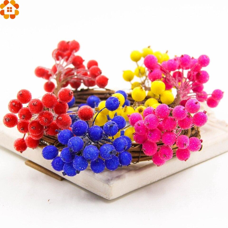 1cm 20pcs/lot Mini Scrapbooking Stamen Srtificial Berry Bouquet Flower for Party Wedding Candy Box Decoration Crafts Supplies