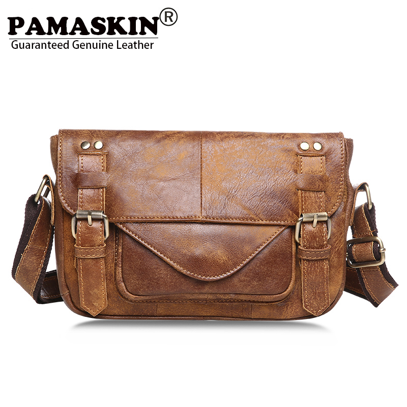 PAMASKIN Messenger Bag Men Leather Practical Small Simple Men Bags 2018 Hot Brand Cowhide Retro Leisure Shoulder Bags For Male yesello practical small portable ice bags 4 color waterproof cooler bag lunch leisure picnic packet bento box food thermal bag