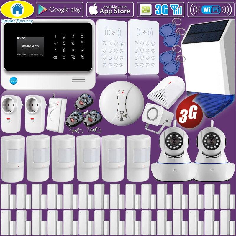 Golden Security G90B Plus+ WIFI 3G GSM Alarm System Home Alarm Security,WiFi IP Camera,Solar Power Strobe Siren,Shock Sensors