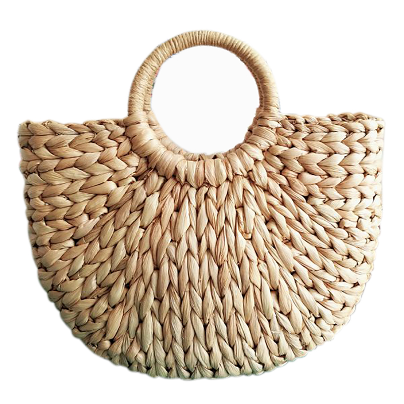 Hot Sale Women Bag Korean Foreign Of Corn Skin The Semicircle Art Beach Bag Travel Pictures Props Straw Bag Moon Bag New