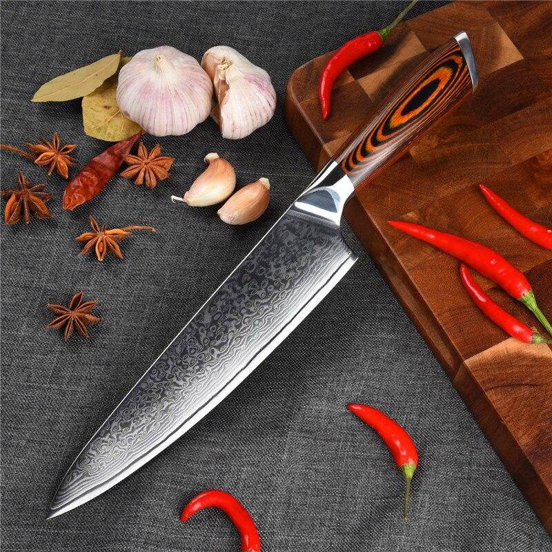 Couteau de Chef damas acier 10Cr15Mov couteau à trancher design antidérapant couleur manche en bois couteau à sushi couteau de cuisine