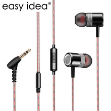 Heavy Bass Earphone Metal HIFI Stereo Earbuds 3.5mm Subwoofer In-ear Earphones With Mic High Quality Headset For Mobile Phone