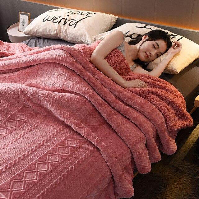 Büyük sıcak kalın kuzu derisi atmak battaniye yatak örtüsü polar bulanık Sherpa battaniye yataklar için ekose kanepe kanepe kılıfı yatak örtüsü Deken