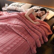 Duży ciepły gruby Lambskin rzut koc koc z polaru Fuzzy Sherpa narzuty na łóżka Sofa w kratę narzuta na sofę narzuta Deken