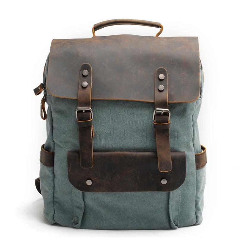 YUPINXUAN Europe Canvas Leather Backpacks Mens 14