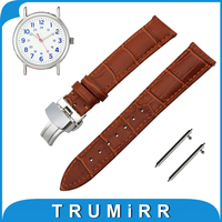 18mm 20mm 22mm Genuine Leather Watch Band Quick Release Strap for Timex Weekender Expedition Butterfly Clasp Wrist Belt Bracelet
