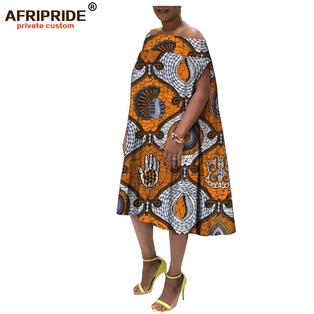 2019 dashiki africain printemps tenue décontractée pour les femmes AFRIPRIDE bazin richi mi-mollet longueur femmes batik coton robe lâche A1825102