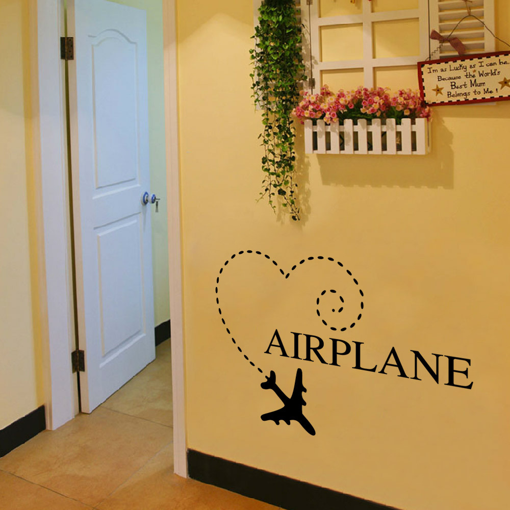 Aw9286airplane carved wall sticker childrens room decoration ...