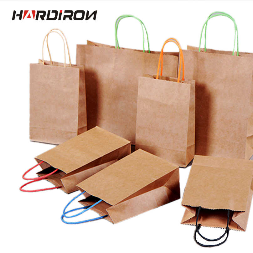 HARDIRON 10PCS Color Handle Kraft Paper Bag Clothing Shopping Gift Bag Logo Printing Wholesale Custom