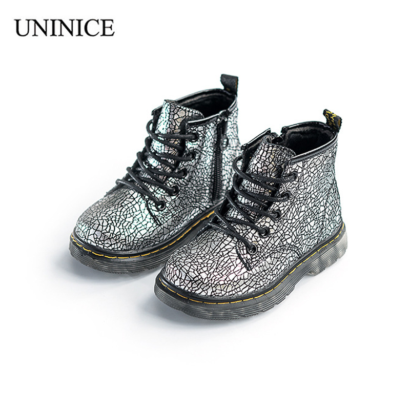 UNINICE Autumn Winter Children Martin Shoes For Boys Girls Fashion Cracked Cow Leather Zipper Boots Non-slip Kids Outdoor Shoes uovo racing driver sport kids shoes boys leather children shoes non slip tenis sneakers breathable boys shoes trainers wearable