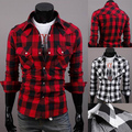 2014 New Brand Fashion Big Plaid / Grid Mens Shirts Slim Fit Long-sleeve Casual 100% Cotton Social Camisas Masculinas M-XXL