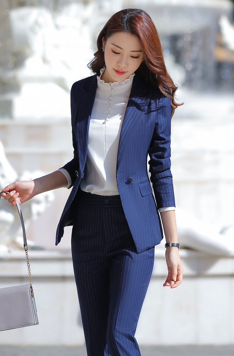 HTB1Je6EaoT1gK0jSZFhq6yAtVXav - Women Two Piece Outfits Elegant Stripe Full Sleeve Blazer+Skirt 2 Pieces Business Career Skirt Suits Office Clothes KY80869