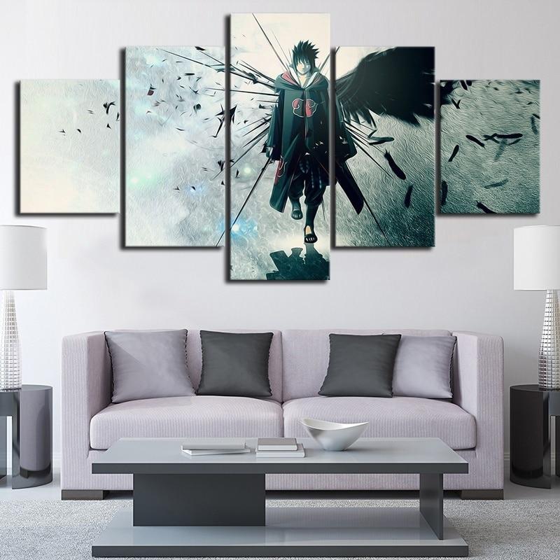 5 Piece Anime Naruto Uchiha Sasuke Poster Canvas Painting Wall Art Home Decor 2