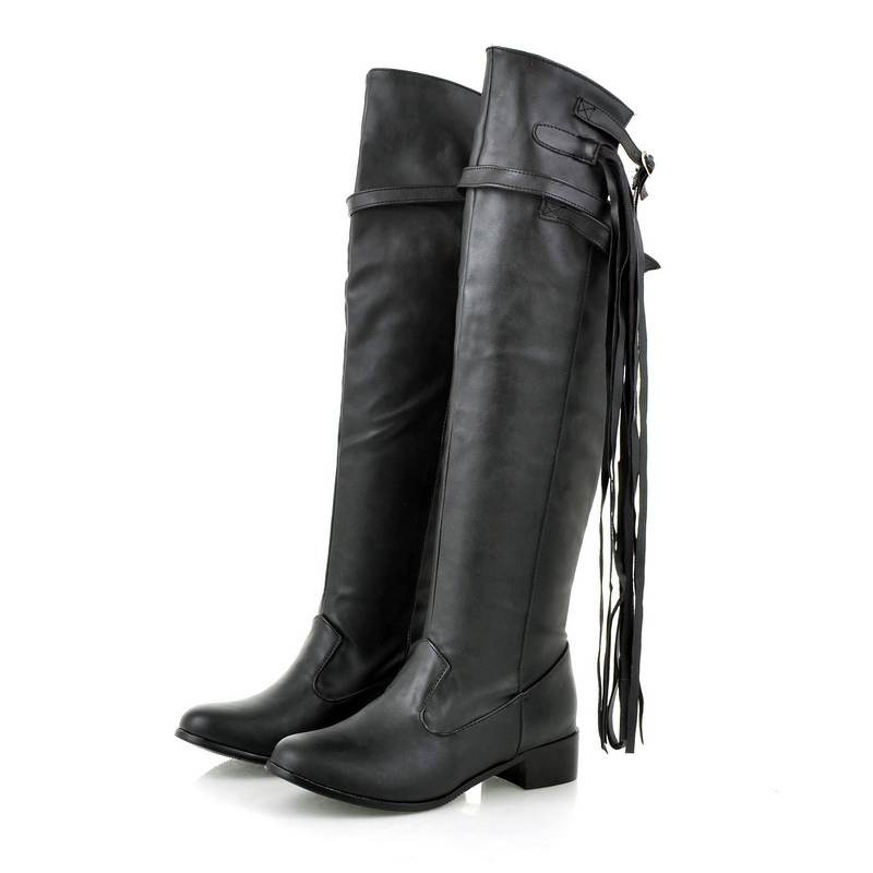 ARMOIRE Brand New Sexy Black Brown White Women Knee High Riding Boots Ladies Shoes Low Heels Tassel A609 Plus Big Size 34 47 12 brand new fashion black yellow women knee high cowboy motorcycle boots ladies shoes high heels a 16 zip plus big size 32 43 10