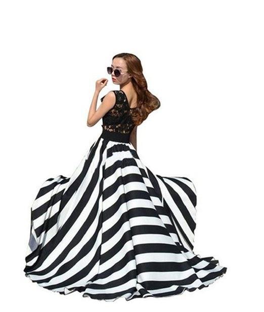 Summer Style Long Chiffon Beach Skirt Women Ladies High Waist Plus Size 3XS-8XL Black And White Stripe Boho Full Boho Skirts