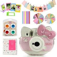 Kristal şeffaf koruyucu Instax Mini Hello Kitty kılıf çanta + albümü + 10 in 1 aksesuarları için Set Fujifilm instax kitty kamera