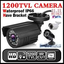 Venda Real 1200TVL 11.11Hot Analógica Mini HD Câmera de CCTV Ao Ar Livre À Prova D' Água IP66 IR-CUT 24led infravermelho Segurança Surveillanc Vidicon