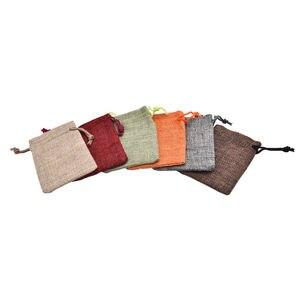 10pcs 7x9cm 10 x 14cm Mini Burlap Jute Drawstring Bags Jewelry Pouches Bags Christmas Rustic bag