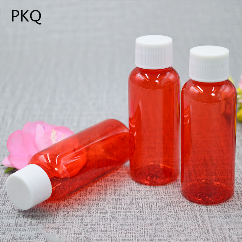 50pcslot 50ml Screw Cap Plastic Bottle Vials Refillable Bottles for Cosmetics Packaging Containers Wholesale 827
