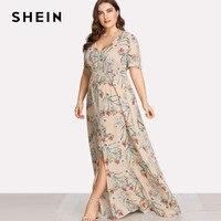 SHEIN Plus Size Summer Women Long Dress Beach Botanical Print Dresses Large Sizes Floral Casual Short