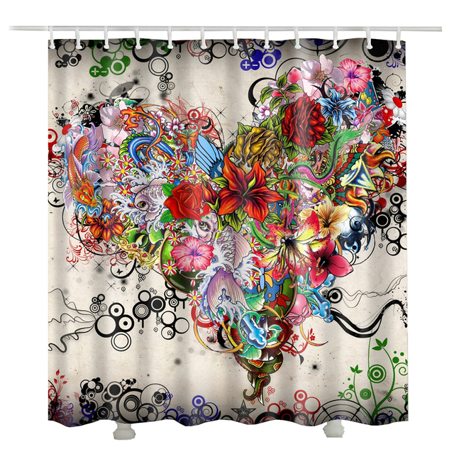 Lily Rose Flower Heart Bathroom Curtain Styles Polyester Cortinas De Ducha Fashion Shower Print