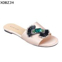 Paris Designer femmes sandales plates chaussures d'été de luxe 2019 strass jaune or cuir marque sandales pantoufles chaussures femme