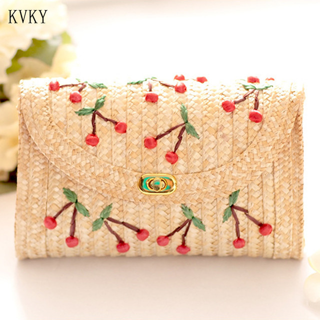 KVKY 2018 Summer Beach Straw Bags Bohemia Cute Cherry Crossbody Bags for Women Casual Small Chain Flap Single Shoulder Bag