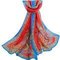 CALIENTE 2017 Nuevo Diseño de Lujo Mujeres de Las Señoras de Impresión Tribal flor de Gasa Bufandas Suaves de Verano Largo Chal Pareos Bandana Z2