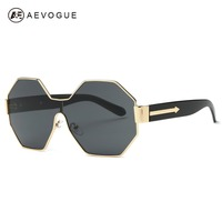 AEVOGUE Sunglasses Women Hexagon Lens Rimless Conjoined Spectacle Lens Brand Designer Sun Glasses With Box UV400