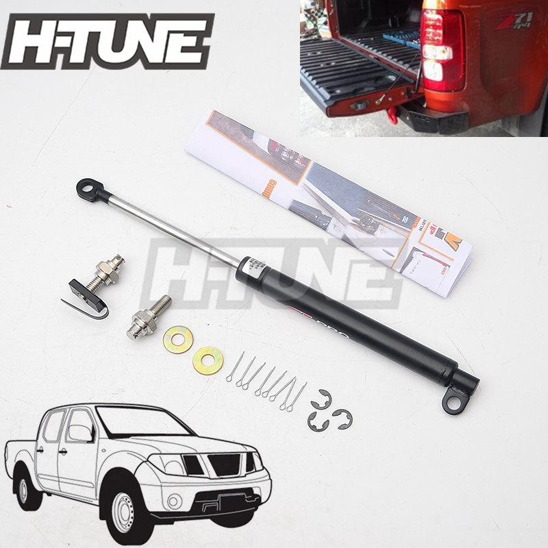 H-TUNE 4x4 Pickup Stainless Steel Rear Tailgate Slow Down Shock Up Lift Gas Strut for Frontier Navara D40 2005-2014 h tune 4x4 accessories front hood bonnet gas lift support shock strut damper for navara d40 05 15